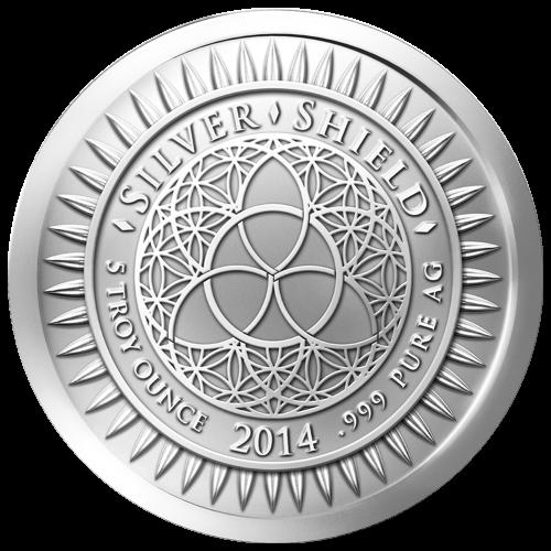 """Das revidierte Silver Shield Logo, mit dem Trivium in der Mitte, eingekreist von den Worten """"Silver Shield 5 Troy ounce 2014 .999 Pure AG"""" (Silver Shield 5 Troy-oz 2014 .999 Reines SILBER), umgeben von 47 Kugeln."""