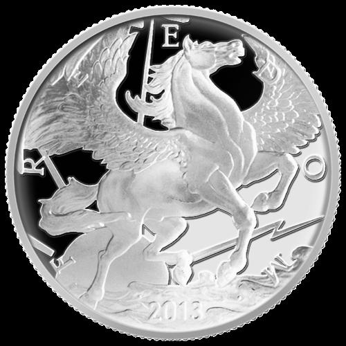 """Ein Pegasus im Flug über den Wolken, die Sonne hinter ihm, umgeben von Blitzen und dem Wort """"Freedom"""" (Freiheit)."""
