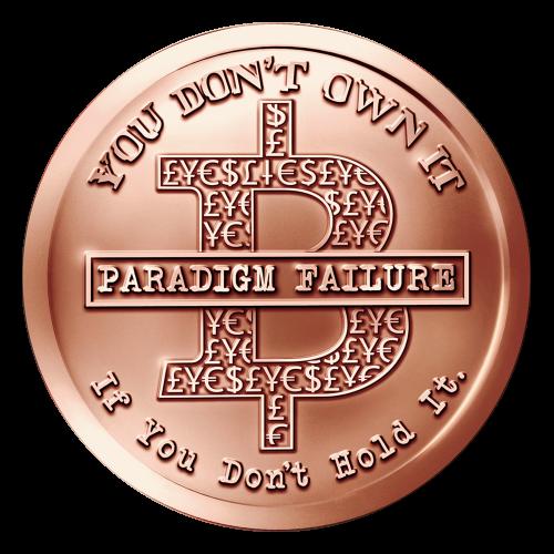 """Ein skizziertes B mit verschiedenen Geldsymbolen und die Worte """"Paradigm Failure"""" (Fehler des Denkmusters) darüber, eingekreist mit dem Satz """"You Don't Own It If you Don't Hold It"""" (du besitzt es nicht, wenn du es nicht in hältst)."""