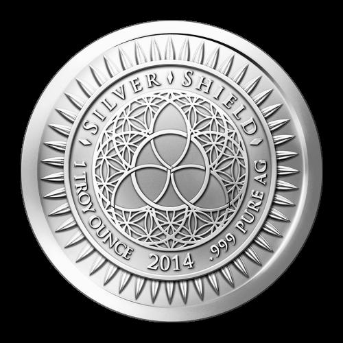 """Das revidierte Silver Shield Logo, mit dem Trivium in der Mitte, eingekreist von den Worten """"Silver Shield 1 ounce 2014 .999 Pure AG"""" (Silver Shield 1 Troy-oz 2014 .999 Reines SILBER), umgeben von 47 Kugeln."""