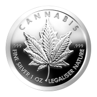 Disco in argento proof-like 1 oz 2014 Cannabis