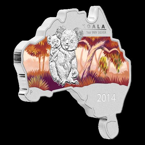 Pièce d'argent en forme de carte de l'Australie Koala 2014 de 1 once