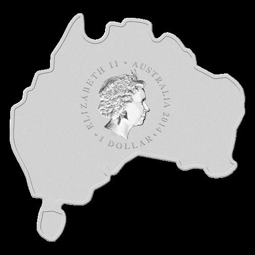 """Ein Koala trägt ein Baby durch den Busch, mit Eukalyptusbäumen und die Worte """"Koala 1 oz 999 Silver 2014"""" (Koala 1 oz 999 Silber 2014), auf einer Münze in der Form von Australien."""