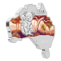 1oz 2014 Australian Map Shaped Koala Silver Coin