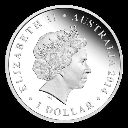 """Ein Genyornis vor einem farbigen Wildnishintergrund, umgeben von den Worten """"Genyornis 1 oz 999 SILVER"""" (Genyornis 1 oz 999 SILBER) und das Perth Prägezeichen """"P""""."""