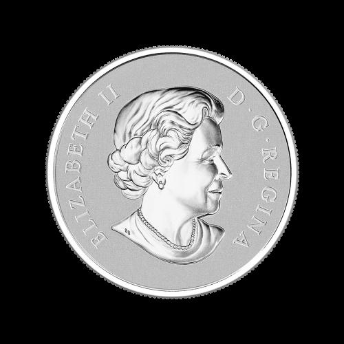 """""""Silberne Ahornblätter"""" die in unterschiedlichen Entfernungen fallen (durch verschiedene Größen dargestellt), die Initialen des Künstlers und die Worte """"Canada 10 Dollars 2014""""."""