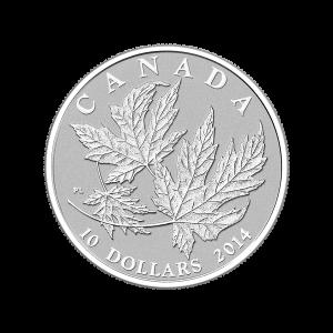 Moneda de Plata Proof de Hojas de Arce Canadiense 2014 de 1/2 oz