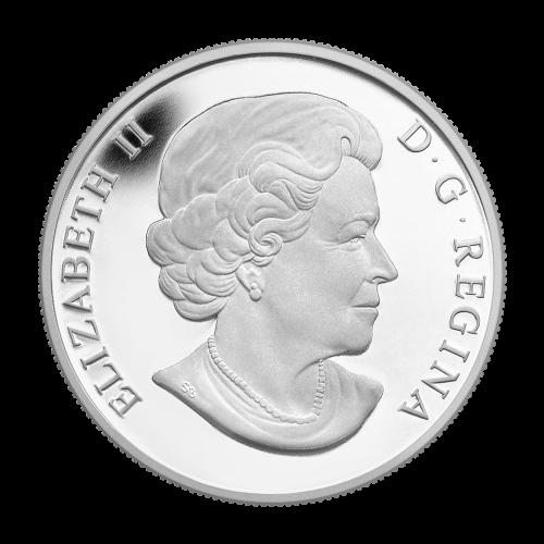 """Ein Nanaboozhoo entflieht dem Nest des Donnervogels mit einem gefiederten Pfeil in der Hand, aus den Vogelaugen kommen Blitze und aus seinem Schnabel Donner, mit den Worten """"2014 Canada 20 Dollars"""" (2014 Kanada 20 Dollar)."""
