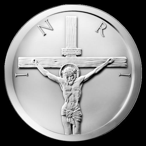 """Szene der Kreuzigung mit den außenliegenden Buchstaben """"INRI"""""""