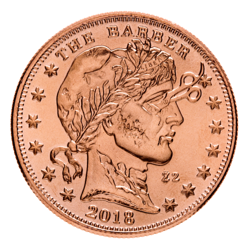 1 oz Zombucks The Barber Copper Round