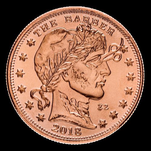 """Freiheitsdame aus dem Barber Quarter ((Frisör Vierteldollarmünze) (1892 - 1914)), aber zombiartig, das Auge mit einer Schere durchstochen dargestellt. Sie ist runzlig und am verwesen, umringt von 13 sechszackigen Sternen und den Worten """"The Barber 2018 50"""