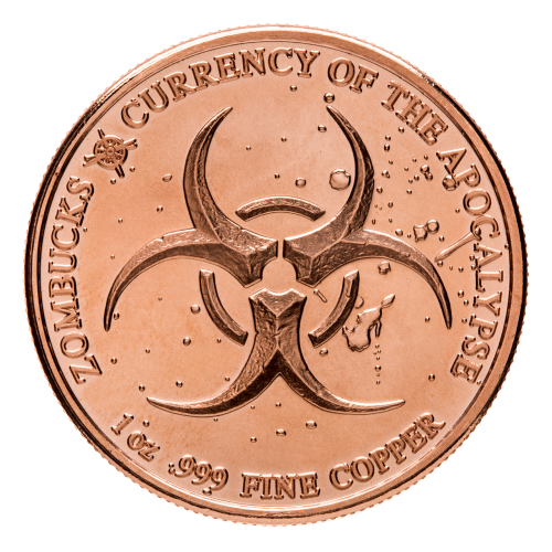 Biogefahr Zeichen - Zombucks - 1 oz .999 Feinkupfer - Die Währung der Apokalypse -  Kompass Logo von Provident Metalle