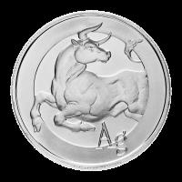 1 oz Silbermedaille - silberner Stier