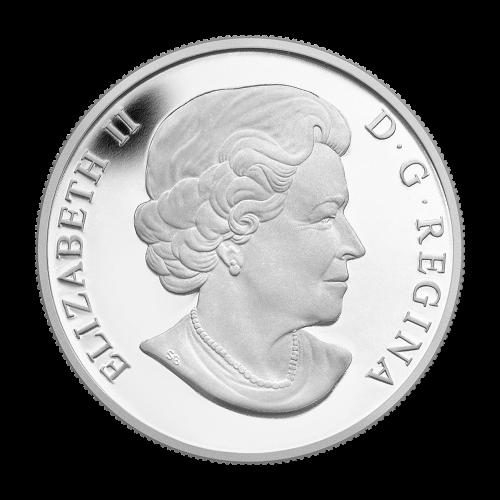 """Ein Weißkopfadler, der einen Lachs aus dem Wasser fischt, mit einer Baumgrenze am Horizont und die Worte """"Canada 2014 20 Dollars"""" sowie die Initialen des Künstlers."""