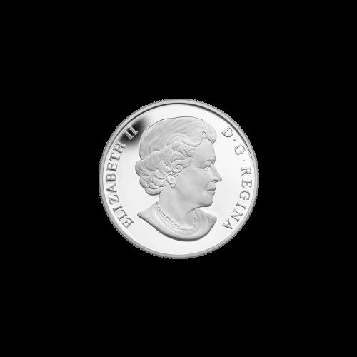 """Das Dreiviertel Profil eines Weißkopfadlers, von der linken Seite und die Worte """"Canada 2014 5 Dollars"""" (Kanada 2014 5 Dollar), sowie die Initialen des Künstlers."""