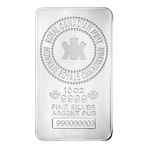 10 oz New Royal Canadian Mint Sølvbarre
