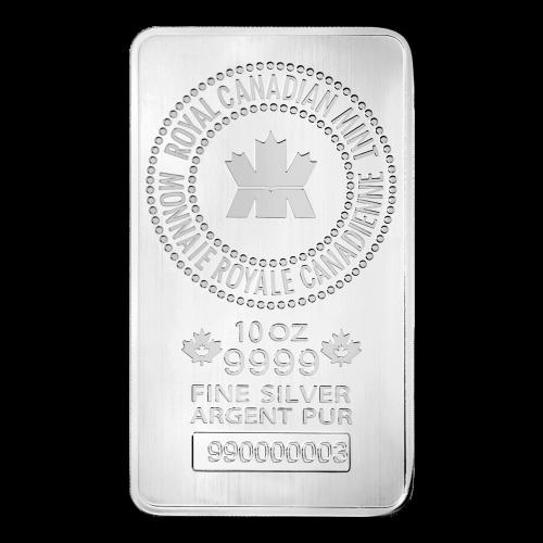 """Logo der königlich kanadischen Prägeanstalt, umkreist von dem Namen der Prägeanstalt in Englisch und Französisch und den Worten """"10 oz 9999 Fine Silver Argent Pur"""" (10 oz 9999 Feinsilber reines Silber) sowie einer einmaligen Seriennummer"""