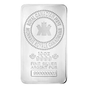 10 oz New Royal Canadian Mint Zilveren Baar