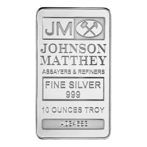 10 oz Johnson Matthey Zilveren Baar