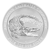 1 oz australische Silbermünze - Leistenkrokodil - 2014