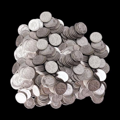 $100 Nennwert Silbermünzen in einem Beutel, U.S. Umlauf 90% reines Silber