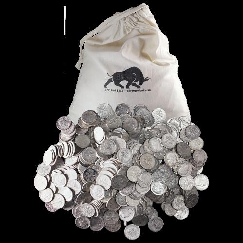 $250 Silbermünzen in einem Beutel, U.S. Umlauf 90% reines Silber