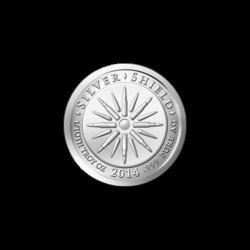 """Das revidierte Silver Shield Logo, welches für fraktionierte Medaillen verwendet wird, mit den Worten """"Silver Shield 1/10 Troy ounce 2014 .999 Pure AG"""" (Silver Shield 1/10 Troy-oz 2014 .999 Reines SILBER) und 8 Kugeln, sowie 8 Blitzen in der Mitte"""