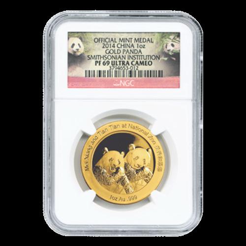 Panda Chino del Instituto Smithsoniano NGC PF-69 2014 Moneda de Oro de 1 Oz Ultra Cameo