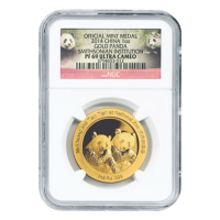 1 oz chinesische Goldmünze - Panda - Smithsonian Institute NGC PF-69 extreme Gemme - 2014