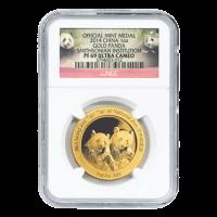 1 oz chinesische Goldmünze - Panda - Smithsonian Institute NGC PF-69 extrem geschnitten - 2014