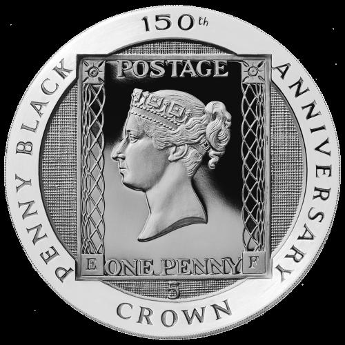"""Das Design der Penny Black Briefmarke zeigt eine junge Königin Victoria und die Worte """"Penny Black 150th Anniversary Crown"""" (Penny Black 150. Jahrestag Krone) und einen Hintergrund mit Leinenstruktur."""