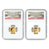 2 x 1/10 oz Goldmünzen (Set) - chinesischer Panda Smithsonian Institut NGC PF-69 - limitiert 2014