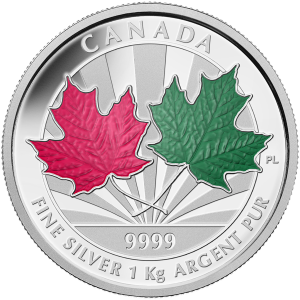 1 kg | kilo 2014 Canadian Maple Leaf Forever Silver Proof Coin