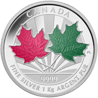 1 kg 2014 Canadian Maple Leaf Forever Zilveren Proof Munt