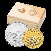 Polierte Platte Silber- und Goldmünzen Set - kanadischer Eisbär