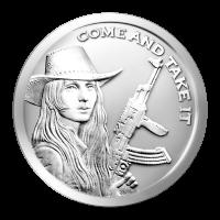 1 oz Silbermedaille -  Come and Take It (Komm her und nimm es dir) - 2014