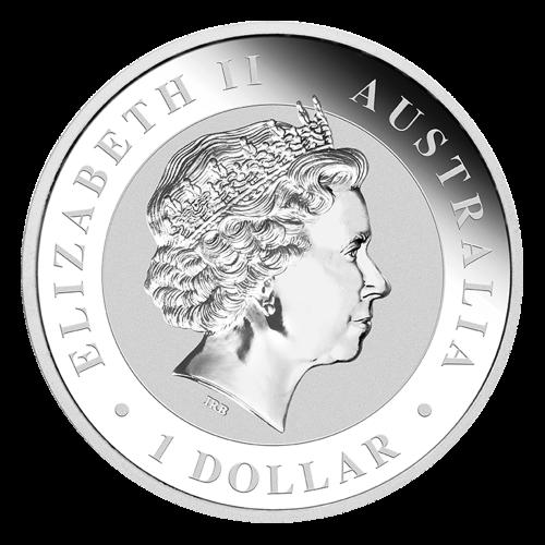"""Figur eines erwachsenen Koalas auf einem Ast mit einer grasbewachsenen Hügellandschaft im Hintergrund und den Worten """"Australian Koala 2015 1 oz 999 Silver"""" und das Prägezeichen """"P"""" der Münzanstalt Perth."""