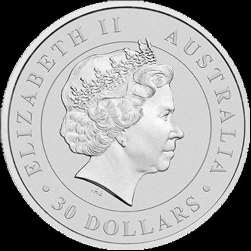 """Abbild eines auf einem Ast sitzenden, ausgewachsenen Koalas, mit einer grasbewachsenen Hügellandschaft im Hintergrund und die Worte """"Australian Koala 2015 1 kg 999 Silver"""" (australischer Koala 2015 1 kg 999 Silber) und das Perth Prägezeichen """"P""""."""