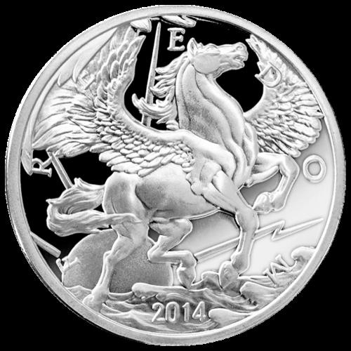 """Ein Pegasus im Flug über den Wolken mit der Sonne hinter ihm, umgeben von Strahlen und das Wort """"Freedom"""" (Freiheit), sowie das Jahr """"2014""""."""