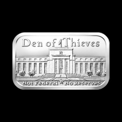 """Ansicht auf die Fassade des Gebäudes der US-Notenbank und die Worte """"Den of Thieves Not Federal No Reserves"""" (Räuberhöhle Nicht staatlich Keine Reserven)"""