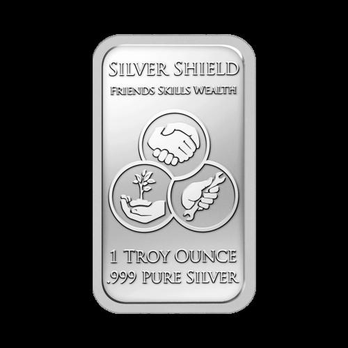 """Drei sich überlappende Kreise, die Familie, Fähigkeiten und Reichtum darstellen, sowie die Worte """"Silver Shield Friends Skills Wealth 1 Troy Ounce .999 Pure Silver"""" (Silver Shield Freunde Fähigkeiten Reichtum 1 Troy-oz .999 reines Silber)."""
