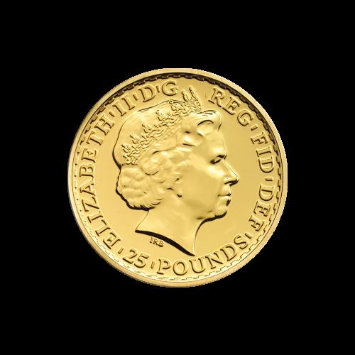 """Stehende Britannia mit Schild, Dreizack und Olivenzweig, die Worte """"Britannia 2014 1/4 oz 999.9 Fine Gold"""" (Britannia 2014 1/4 oz 999.9 Feingold), sowie der Nachname des Künstlers (Nathan)."""