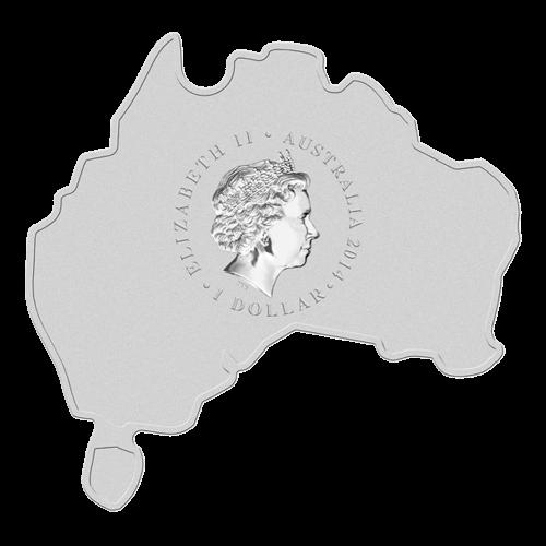 """Ein Leistenkrokodil in einer farbigen Sumpflandschaft und die Worte """"Saltwater Crocodile 1oz 999 Silver 2014"""" (Leistenkrokodil 1 oz 999 Silber 2014) auf einer Münze, die wie Australien geformt ist."""
