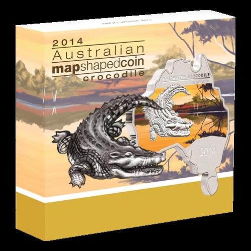 1 oz Silbermünze - Leistenkrokodil in der Form einer australischen Landkarte - 2014