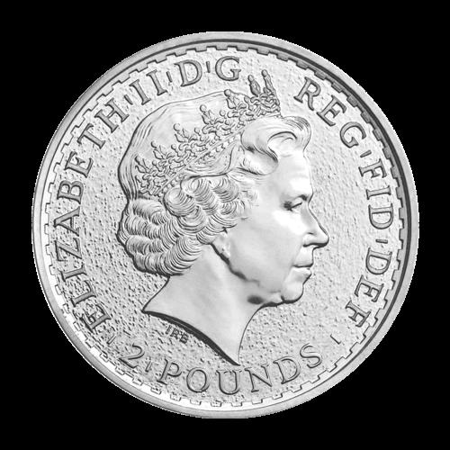 """Eine stehende """"Britannia"""" mit Schild, Dreizack, einem Olivenzweig und die Worte """"Britannia 2015 1 oz 999 Fine Silver"""" (Britannia 2015 1 oz 999 Feinsilber"""" und der Nachname des Künstlers (Nathan)."""