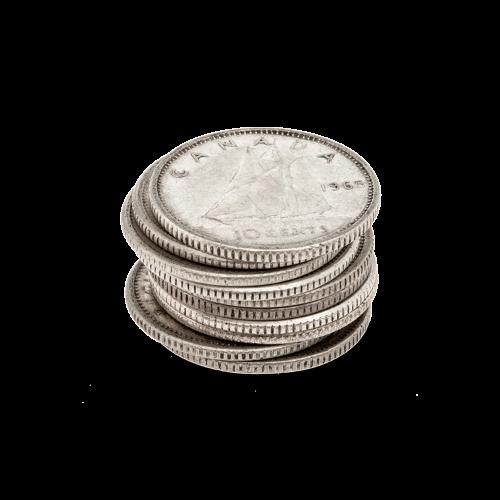 $1 Nennwert Silbermünzen in einem Beutel, in Kanada im Umlauf 80% reines Silber