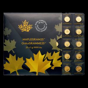 25 g (25 x 1 g) MapleGram25 Bogen mit Goldmünzen - 2015