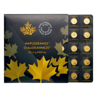 25 gram (25 x 1 g) 2015 MapleGram25 Sheet of Gold Coins
