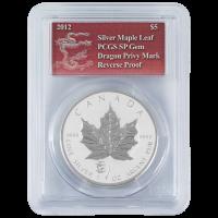 1 oz kanadische Silbermünze - Ahornblatt Polierte Platte (invertiert) - Jahr des Drachen Sonderprägung PCGS SP Edelstein - 2012