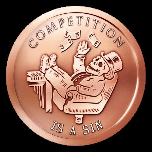 """Ein Skeletttycoon, mit einem Zylinderhut, der seine Füße auf dem Schreibtisch hat, mit Geld um sich schmeißt und die Worte """"Competition is a Sin"""" (Wettbewerb ist eine Sünde)."""
